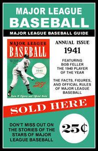 1941 Bob Feller Major League Baseball Guide Poster - Buy Any 2 Get 1 Free