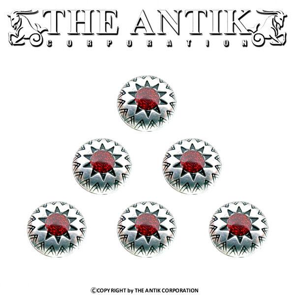 16 Zierniete BABYLONIAN RED STAR 925 Concho Gürtel Gothic LARP Vintage Halsband