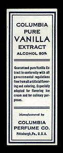Vintage-1940s-Columbia-Pure-Vanilla-Extract-Label-Alcohol-50-Pittsburgh-PA