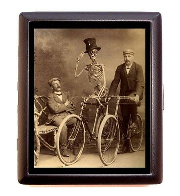 Oddity Skeleton Riding Bike Victorian Business Card Id Wallet Cigarette Case
