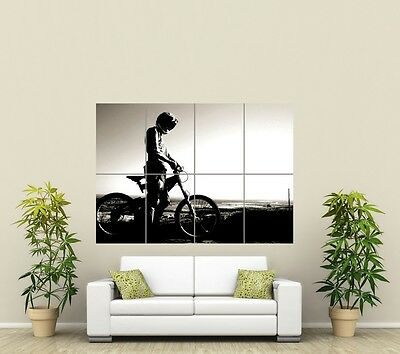 MOUNTAIN BIKE SILHOUETTE BMX DOWNHILL  GIANT ART POSTER PRINT PICTURE ST935