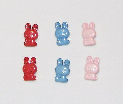 """6 Bunny Novelty Buttons Sewing Crafting 0.75"""" 3/4"""""""