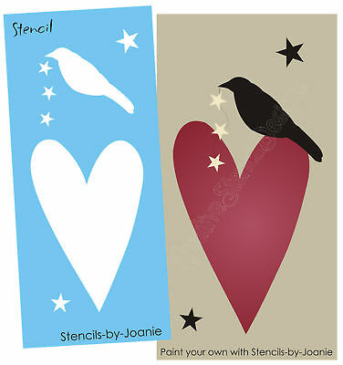 "Lg STENCIL 20"" tall Country Primitive Heart Crow Stars Door Panel Joanie Signs"