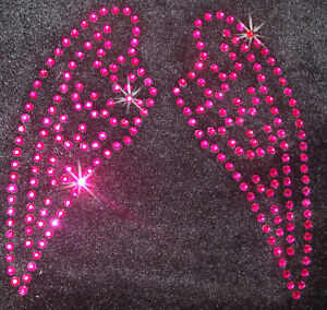 ANGEL-FAIRY-WING-SM-HOT-PINK-iron-on-CRYSTAL-BEAD-PATCH