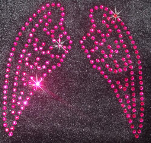 Ala De Ángel Hada SM color de rosa caliente Hierro en parche de transferencia de bricolaje de diamantes de imitación de cristal del grano