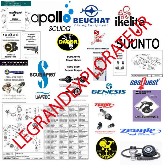Scubapro Mares Apeks Aqua Lung Maintenance Repair & Service Manuals DVD manual s