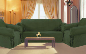 ... 3 Pc Slipcovers Set Couch Sofa Loveseat Chair