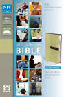 NIV, Thinline Bible, Compact, Imitation Leather, Tan/Black, Red Letter Edition by Zondervan Publishing (Leather / fine binding, 2011)