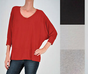 Chic-SLOUCHY-Oversized-DOLMAN-SLEEVE-V-neck-Sweater-Top-Knit-Lounge-Blouse-New