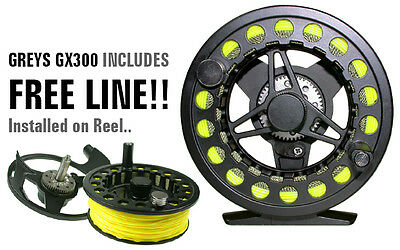 GREYS GX300 Fly Reel for Fly Fishing with a FREE FLY LINE - RRP £59!!