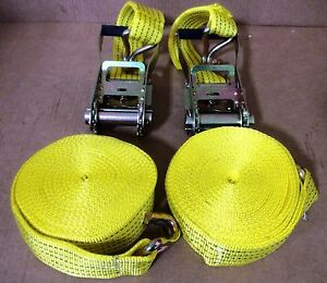 TWO-New-2-034-x-27-039-10-000lb-Ratchet-Straps-J-Hook-Ratcheting-Tie-Down-HEAVY-DUTY