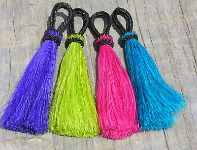 "Bright 3"" Horsehair Tassels Lime Purple Pink Turquoise"