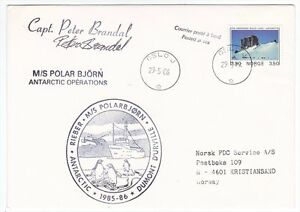 Norway-MS-Polar-Bjorn-1986-Antarctic-Cover-Signed-By-Captain