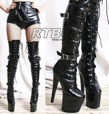 "20cm 8"" Platform High Heel 3 Buckle Strap Mid Thigh 60cm Custom Boot"