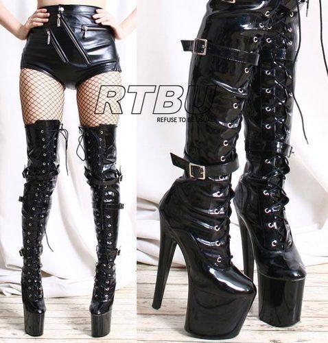 RTBU 20cm Platform Heel 3 Buckle Strap Mid Thigh 60cm Custom Boot