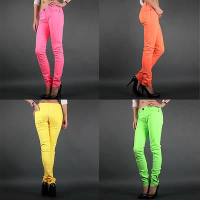 Stretch Neon Color Ankle Zipper Cozy Womens Fashion Slim SKINNY JEAN PANTS