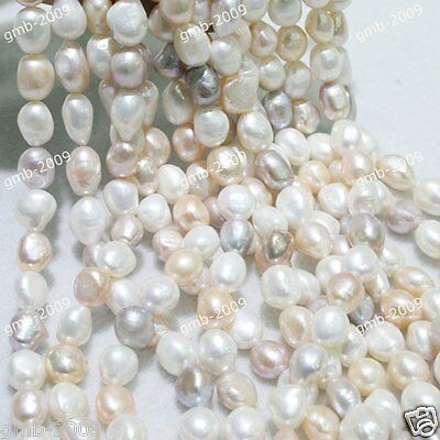"""7-8mm Natural White Pink Purple Rice Freshwater Pearl Oval Loose Beads 15""""AAA"""