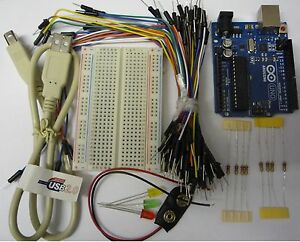 Arduino-UNO-R3-Starter-Kit-gt-Proto-Board-jumpers-LEDS-USB-Lead-More