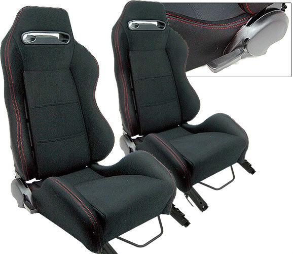 NEW 2 BLACK CLOTH + RED STITCH RACING SEATS RECLINABLE w/ SLIDER ALL HONDA