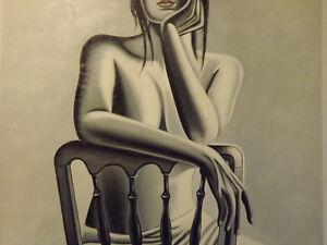 Peinture-Huile-Sur-Toile-Femme-Nue-Sexy-Art-Abstrait-Moderne-Original-Erotique