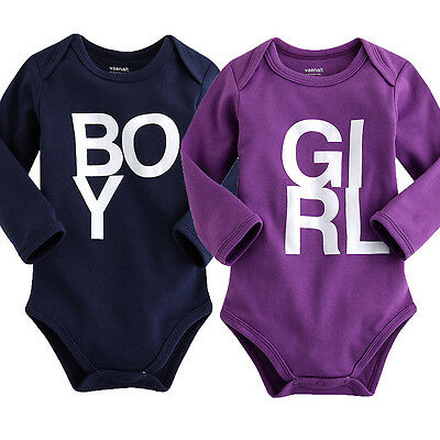 "NWT Vaenait Baby Newborn Toddler Girl Boy 's Long Sleeve Bodysuit ""Boy and Girl"""