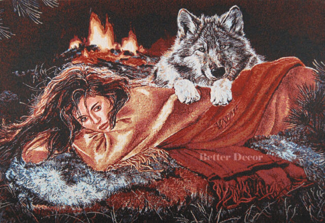 "37"" WALL JACQ. WOVEN TAPESTRY Girl with Wolf EUROPEAN WILD LIFE ANIMAL PICTURE"