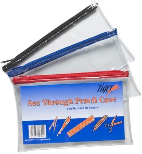 School Exam Pencil Pen Case Bag Pouch Plastic Clear See Through Transparent x 1