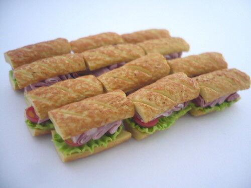 12 Sandwichs Handmade Dollhouse Miniatures Food Deco