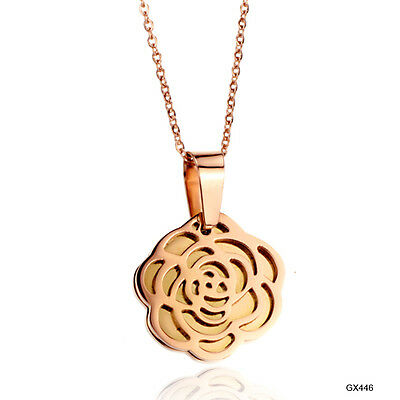 14K Rose gold plated necklace flower pendant stainless steel chain lady love