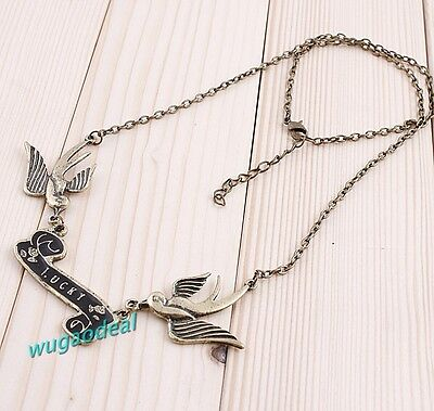1 PCS Ancient Bronze Plated Lovely  Dual Swallow Necklace