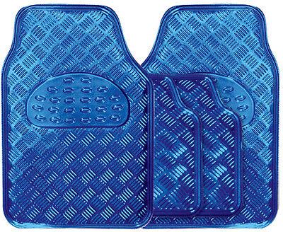 New Metallic Blue Secure Heavy Duty Checker Plate Rubber Interior Car Floor Mats
