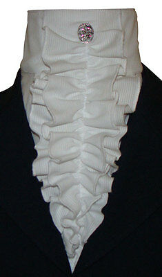 Stock Tie, Double Ruffled Pin-Cord Tuxedo Style, White, NEW!!
