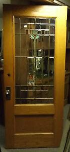 Antique-c1915-Oak-Entry-Door-Leaded-Beveled-Stained-Slag-Glass-Arts-amp-Crafts