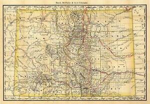 Vintage Colorado Map 24x36 Vintage Reproduction Railroad Train Historic Map Colorado