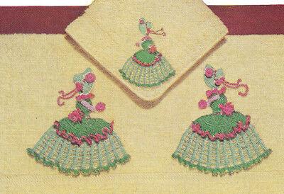 Vintage Crochet Pattern Crinoline Lady Motifs Appliques