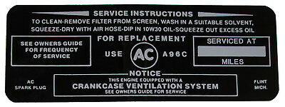 1964 Buick Wildcat 445 Air Cleaner Service Decal