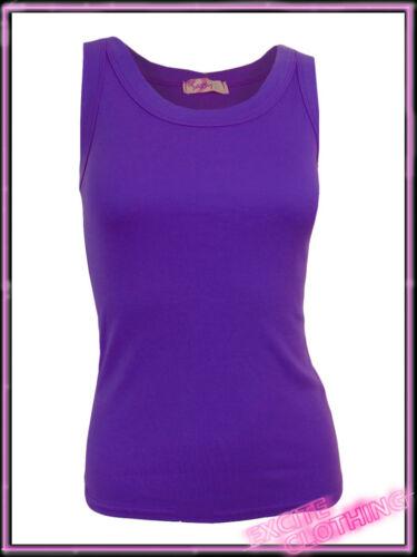 Womens Plain Cotton Skinny Fit Vest Top Ladies Black Pink New UK 6 8 10 S M L