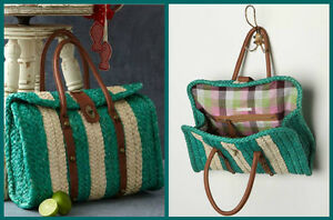 NEW-ANTHROPOLOGIE-VILLAGE-GREEN-Shopper-Chic-vtg-insired-LARGE-TOTE-BAG-AMAZING