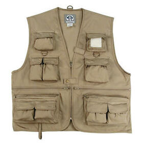 kids fishing vest in black or khaki youth size small to xl
