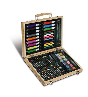 Scatola da disegno in legno pastelli pennarelli acqurelli colori a cera