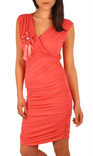 Neck Sleeveless Sizes 8-12 5907 CLEARANCE Spring Dress with Brooch Bodycon V