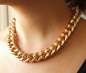 Newest-Shiny-Cut-LIGHT-GOLD-Plated-Chunky-Aluminium-Curb-Chain-Necklace18-034-24-034-38-034