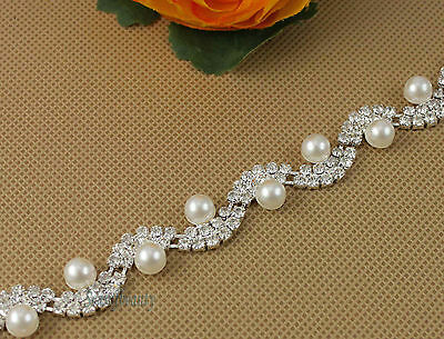5yds Pretty Clear Rhinestone White Pearl Applique Costume Sewing Trims New