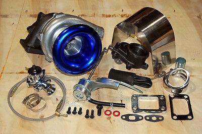 T3/T4 Turbo Kit Internal Wastegate V-band Setup, SS Oil Feed, Heatshield, BOV