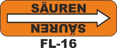 20 x Rohrleitungskennzeichnung Fließrichtung Säuren orange 80x25mm