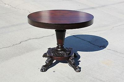 Beautiful Empire Mahogany Dining Center Table w Sunflower Base w Winged Paw Feet