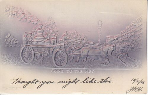 Airbrushed embossed Fire truck with horses canceled 1906 going to the fire 5826