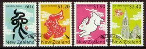 NUEVA-ZELANDA-2011-ANO-DEL-CONEJO-JUEGO-DE-4-BIEN-UTILIZADO