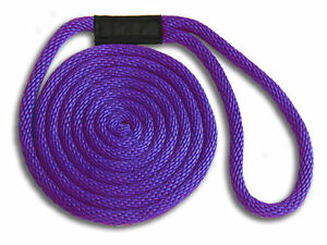 "5/8"" x 15' Solid Braid Nylon Dock Lines - Purple - Made in USA"