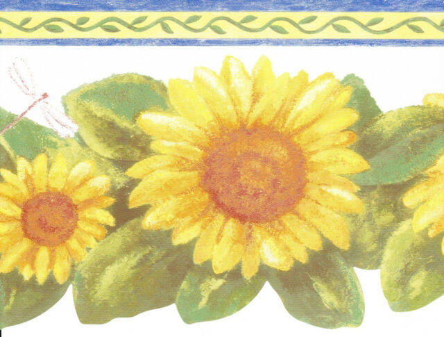 Die Cut Country Sunflower Blue Edge Top Wallpaper Border Wall For